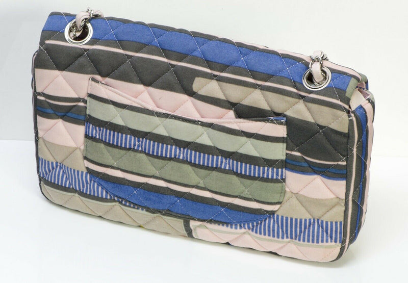 CHANEL CC Resort Striped Quilted Fabric Heart Flap Bag