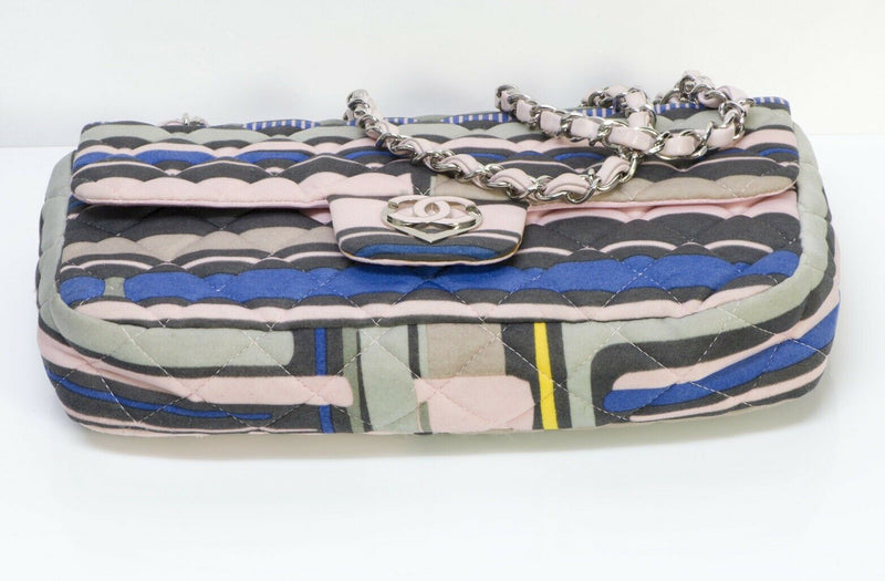 CHANEL CC Resort 2009 Pink Blue Striped Quilted Flap Bag