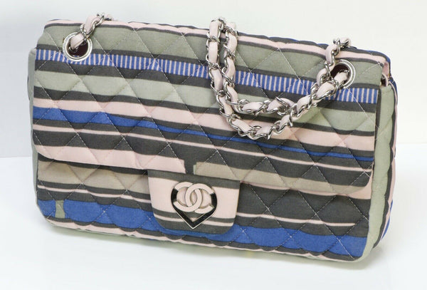 CHANEL CC Resort 2009 Pink Blue Striped Quilted Fabric Heart Flap Bag