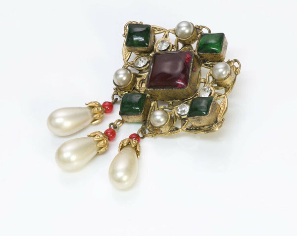 CHANEL Couture Maison Gripoix Byzantine Glass Pearl Brooch