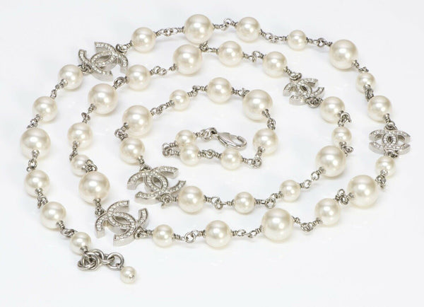 CHANEL 2015 Pearl 5 CC Crystal Sautoir Chain Necklace