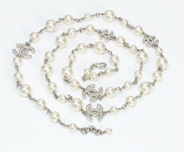 CHANEL 2015 Pearl 5 CC Crystal Sautoir Chain Necklace  42