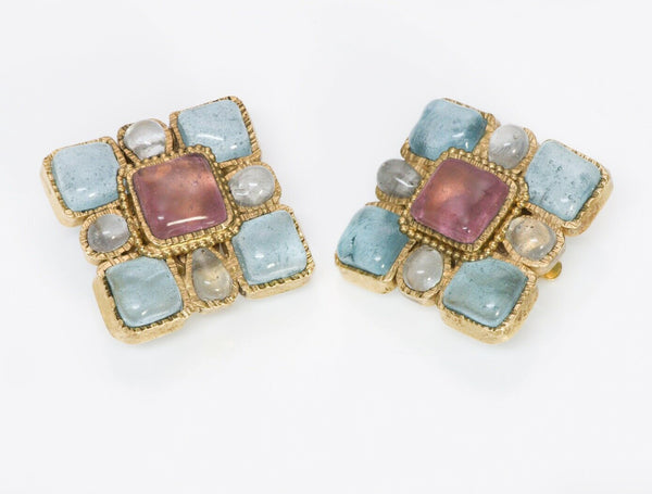 CHANEL Maison Gripoix Glass Square Earrings