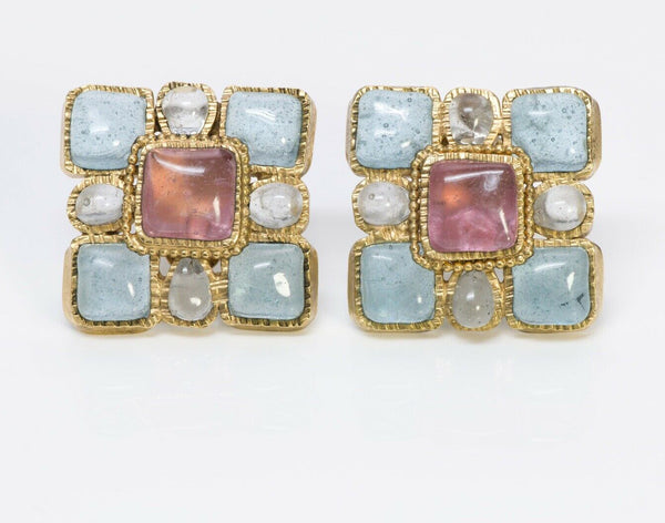 CHANEL Maison Gripoix 1997 Glass Square Earrings