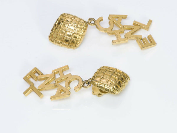 CHANEL Paris Long Quilted Letter Earrings