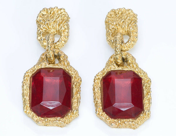 CHANEL Paris Goossens Red Crystal Long Runway Earrings