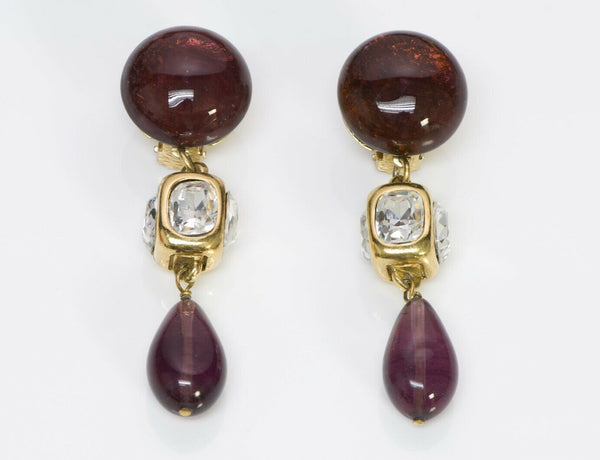 CHANEL 1980's Maison GRIPOIX Glass Long Earrings