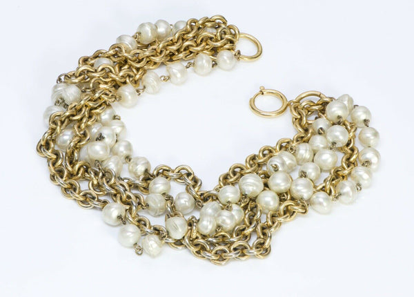 CHANEL Paris Pearl Multi Strand Chain Necklace