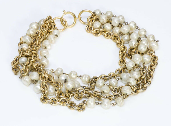 CHANEL Paris 1984 Pearl Multi Strand Chain Necklace