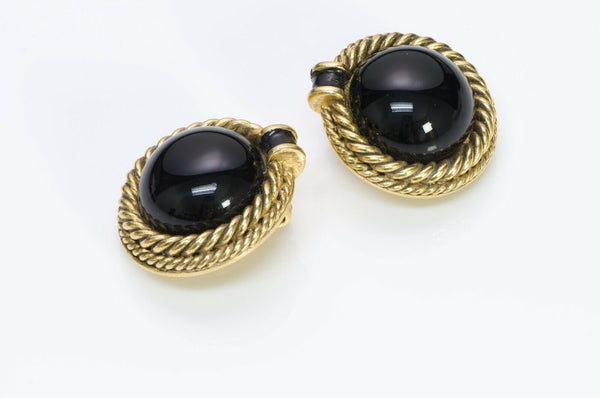 CHANEL Paris 1984 Maison Gripoix Black Cabochon Glass Gold Plated Rope Earrings