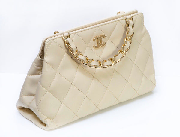 CHANEL Paris CC Beige Quilted Chain Double Handle Bag 2