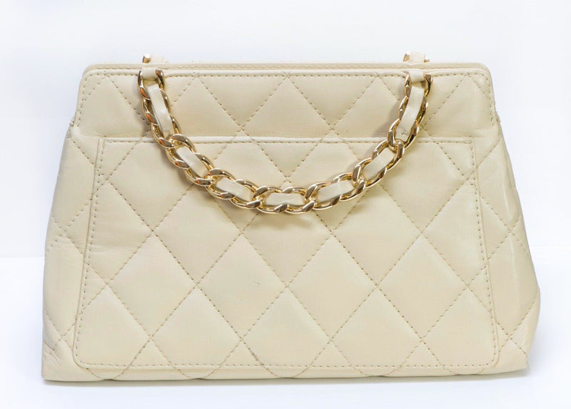 CHANEL Paris CC Beige Quilted Leather Chain Double Handle Bag 3