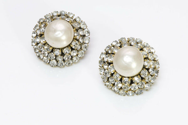 Chanel 1970's Pearl Crystal Cluster Earrings