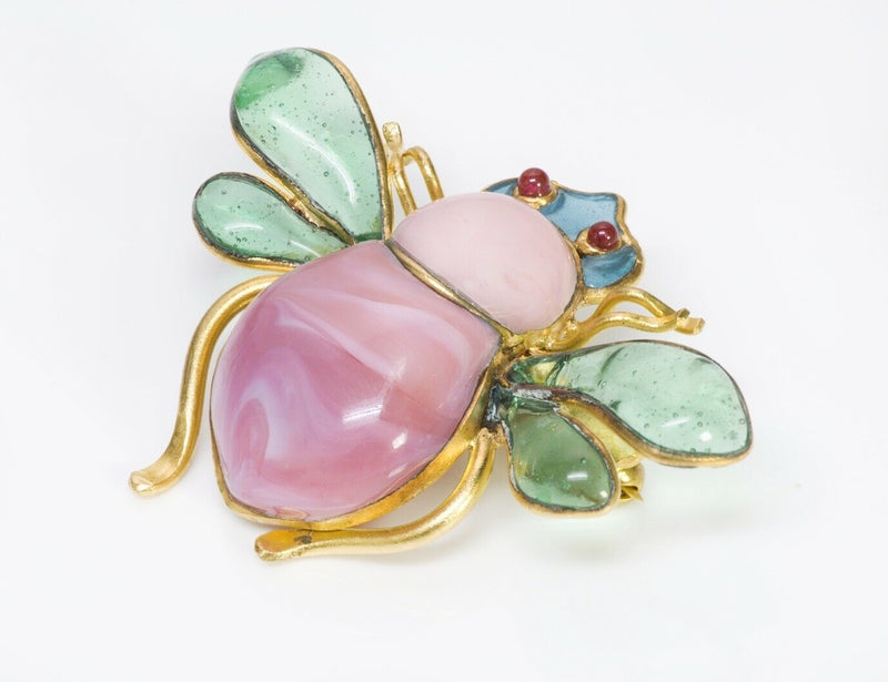 CHANEL 1993 Maison Gripoix Glass Royal Bee Brooch