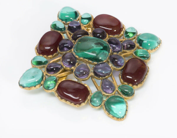 CHANEL Spring Maison Gripoix Green Red Purple Glass Brooch
