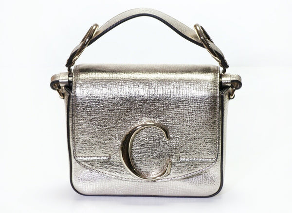 CHLOE C Metallic Gold Leather Mini Crossbody Bag