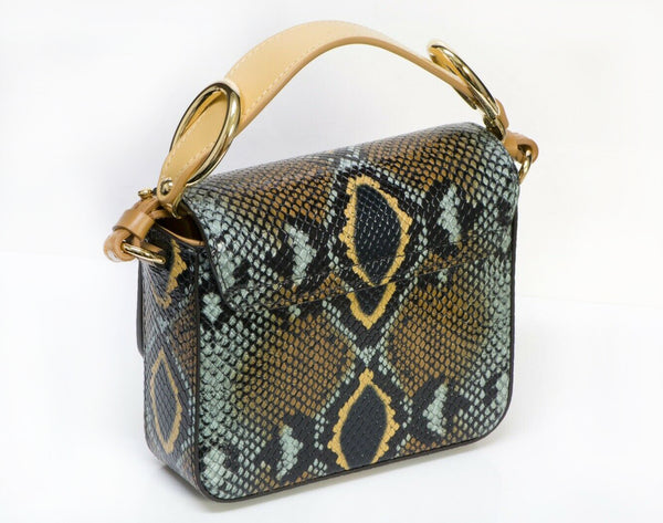 CHLOE C Python Snakeskin Print Embossed Leather Crossbody Bag