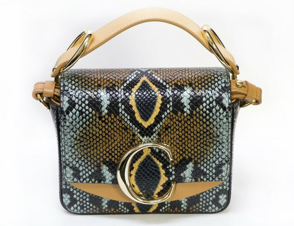 CHLOE C Python Snakeskin Print Embossed Leather Crossbody Mini Bag