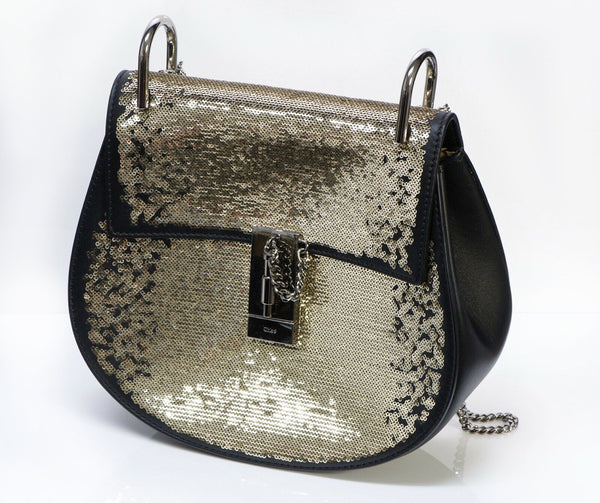 CHLOE Drew Sequin Black Leather Crossbody Chain Bag