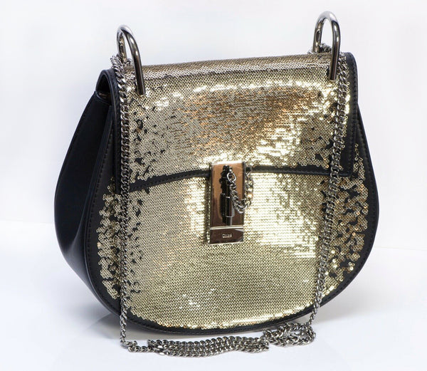 "CHLOE ""Drew"" Sequin Black Leather Medium Crossbody Chain Bag"