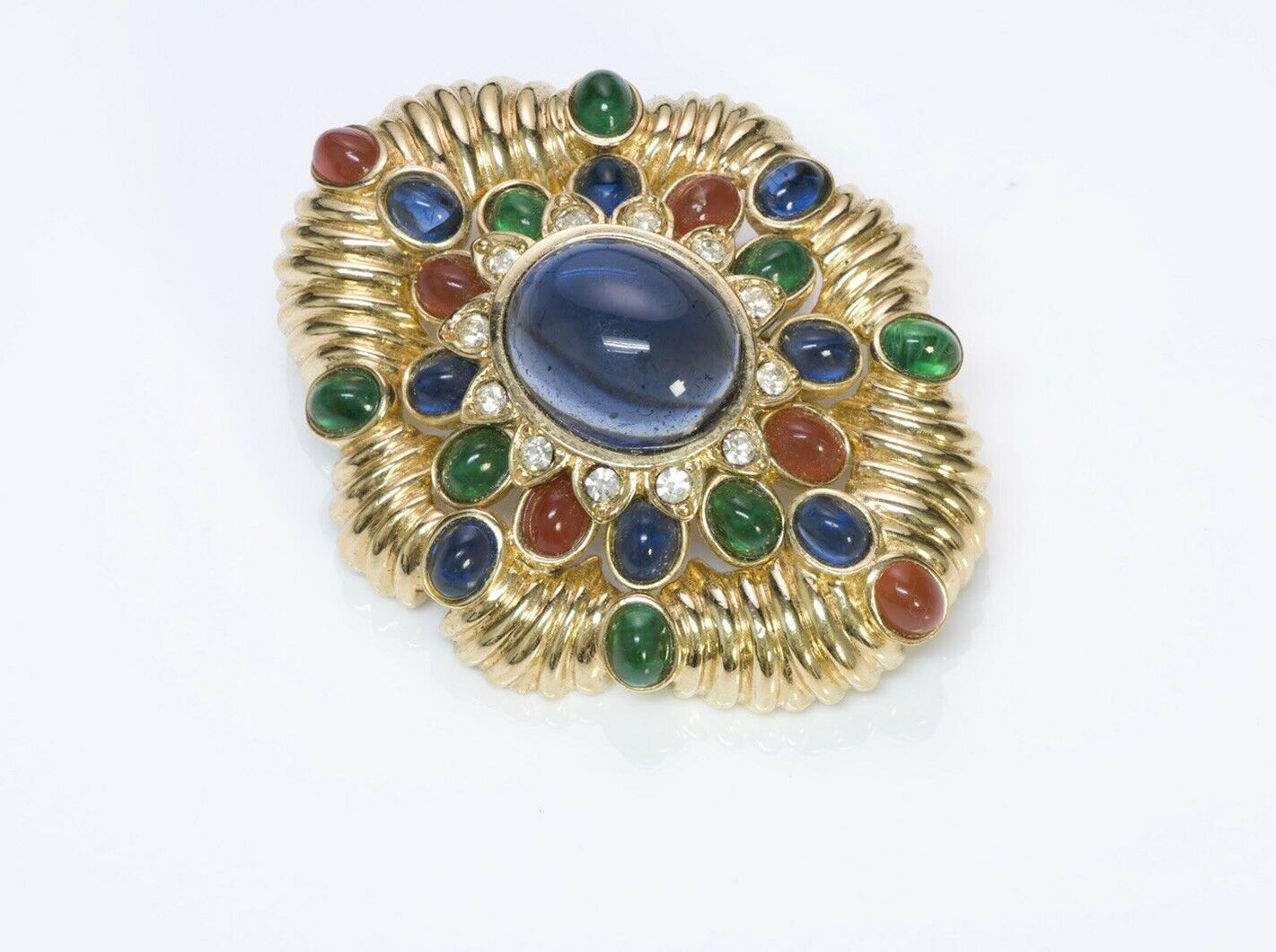 CINER Jewels of India Blue Red Green Cabochon Glass Pendant Brooch