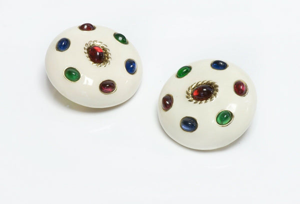 CINER White Enamel Red Green Blue Cabochon Glass Round Earrings