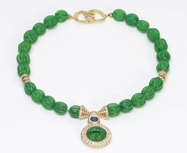 CINER Green Glass Beads Mughal Style Necklace 2