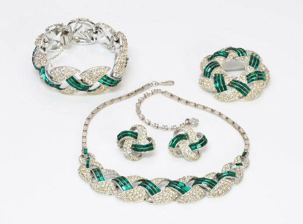 CORO Crystal Necklace Bracelet Brooch Earrings Set