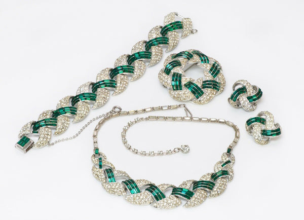 CORO 1940's Green Crystal Necklace Bracelet Brooch Earrings Set