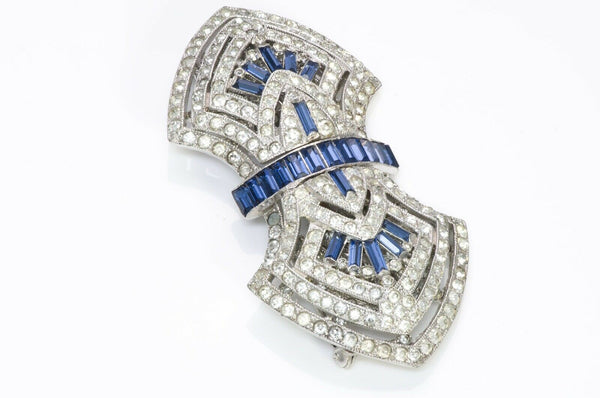 Coro Duette Art Deco Style Blue Crystal Clips Brooch