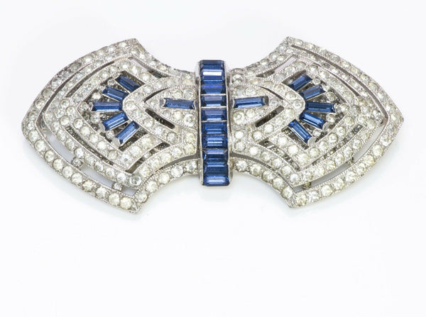 Coro Duette 1940's Art Deco Style Blue Crystal Clips Brooch