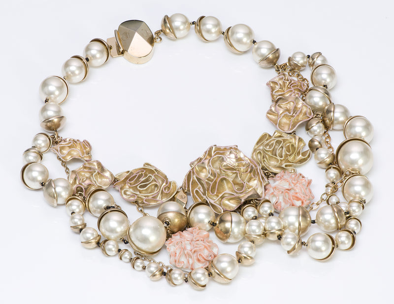"Christian Dior ""Mise en Dior"" Pearl Enamel Flower Necklace"