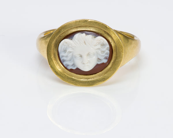 Early Angel Cameo Antique Gold Ring