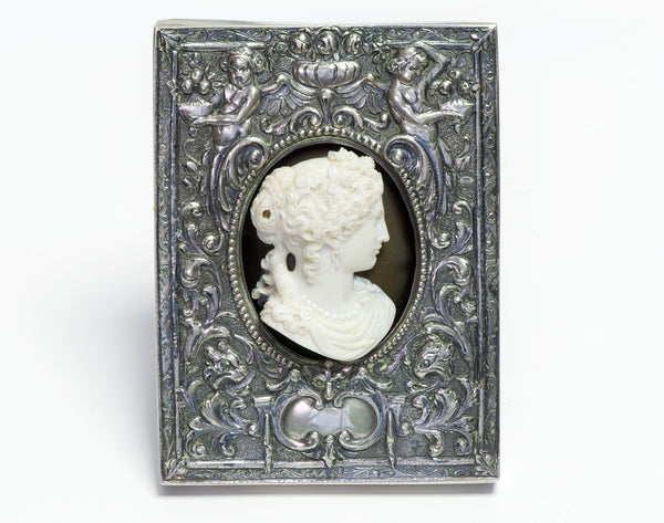 Antique Stone Cameo Ornate Silver Cupid & Griffin Frame