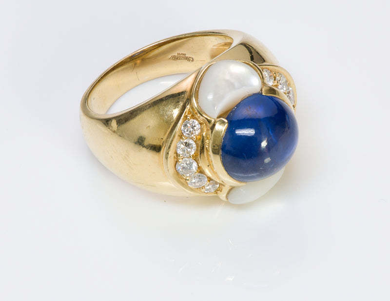 Chantecler Capri 18K Gold Sapphire Diamond Ring 2
