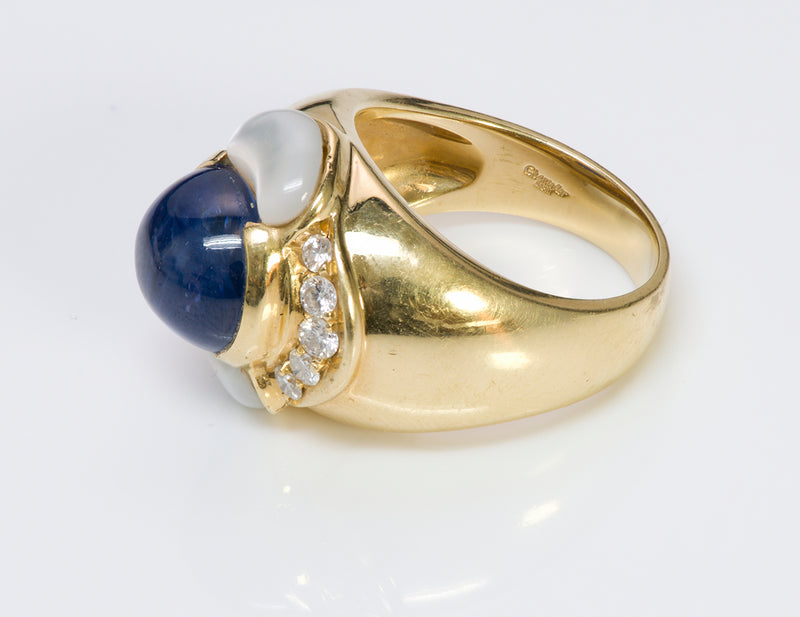 Chantecler Capri 18K Gold Sapphire Diamond Ring  3