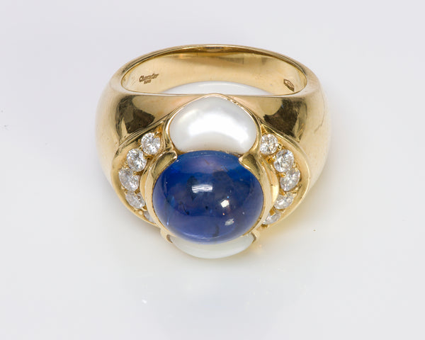 Chantecler Capri 18K Gold Pearl Sapphire Diamond Ring