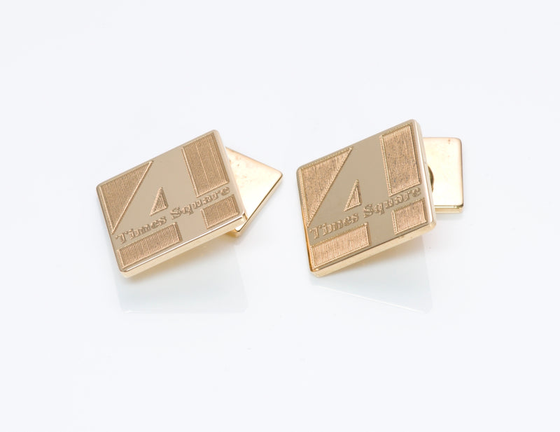 "Cartier ""4 Times Square"" Gold Cufflinks"