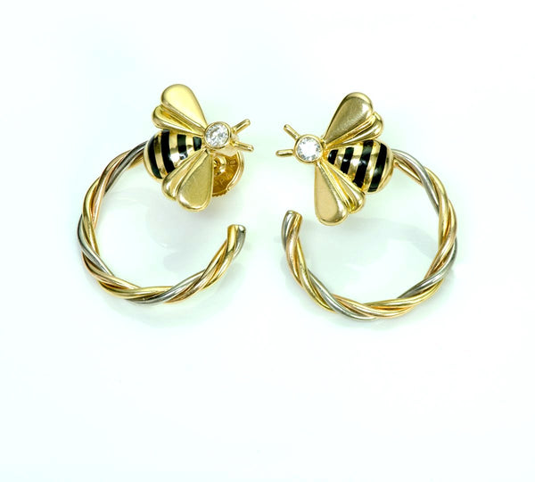 Cartier Diamond 18K Gold Enamel Bee Earrings
