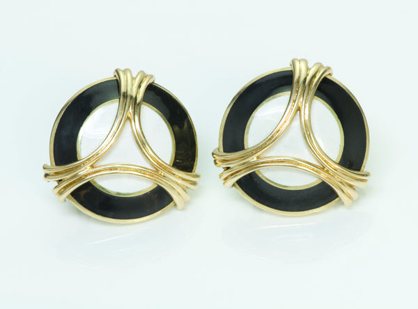 Cartier Enamel Gold Earrings