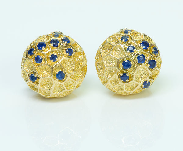 Cartier Gold Honeycomb Sapphire Earrings