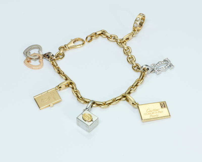 Cartier Gold Diamond Charm Bracelet
