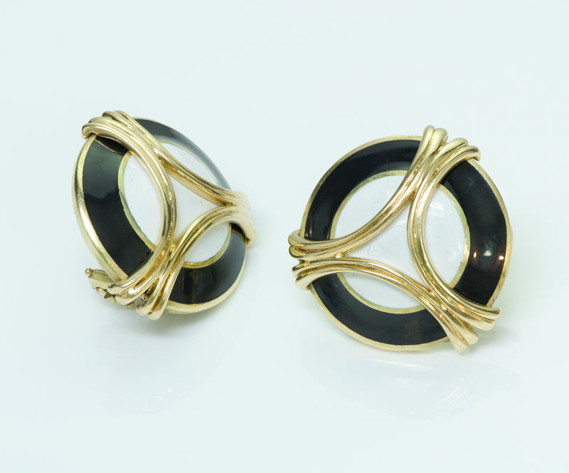 Vintage Cartier Enamel Gold Earrings