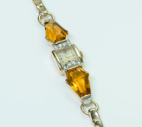 Cartier Citrine Diamond 14K Yellow Gold Ladies Vintage Watch
