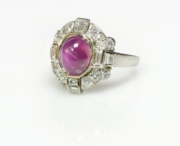 Cartier Art Deco Platinum Pink Star Sapphire Diamond Ring