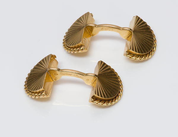 Cartier Paris 18K Gold Fan Rope Cufflinks