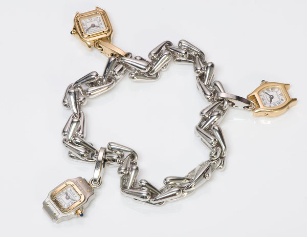 Cartier Gold Watch Charm 18K Bracelet