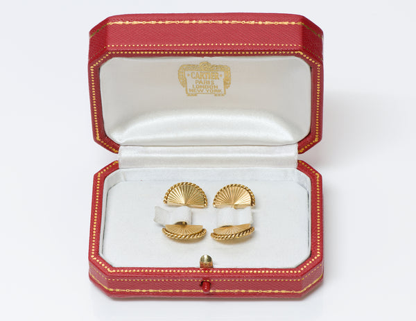 Cartier Paris 18K Gold Fan Rope Ridged Cufflinks