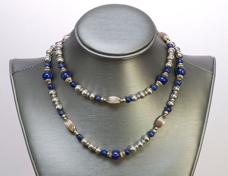 Cartier Silver 14 Gold Lapis Bead Necklace
