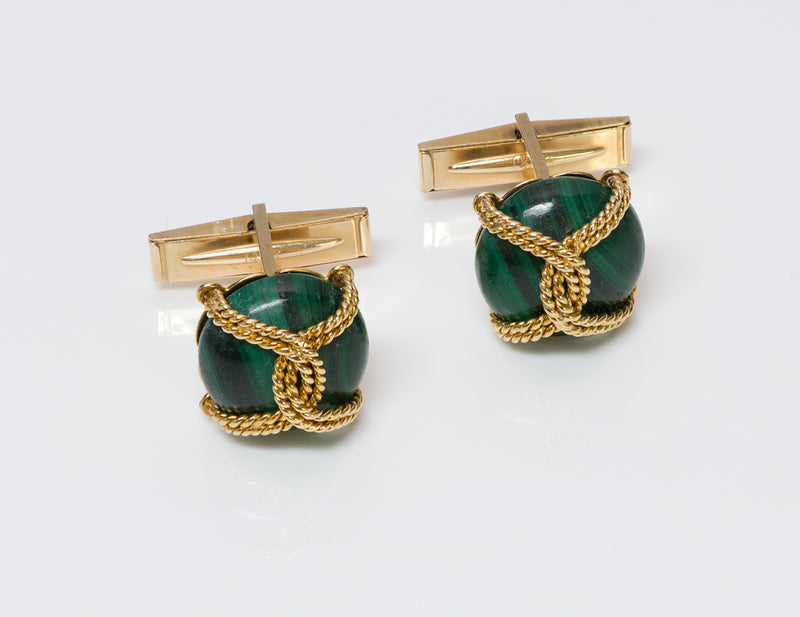 Cartier Malachite Gold Cufflinks